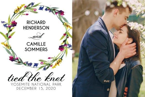 Tied the Knot Elopement Announcement Postcards, Wedding Announcement Postcards, Elopement Announcement Postcards