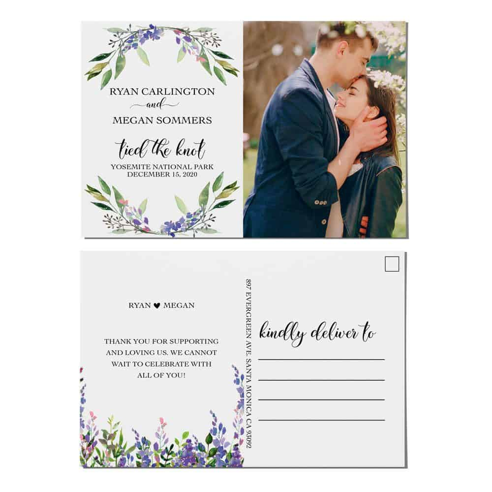 Tied the Knot Elopement Announcement Postcards, Wedding Announcement Postcards, Elopement Announcement Postcards elopement208
