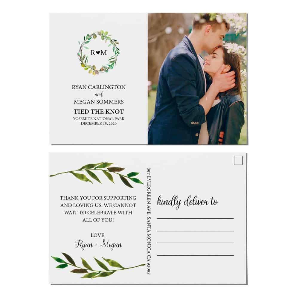 Tied the Knot Elopement Announcement Postcards, Wedding Announcement Postcards, Elopement Announcement Postcards elopement209