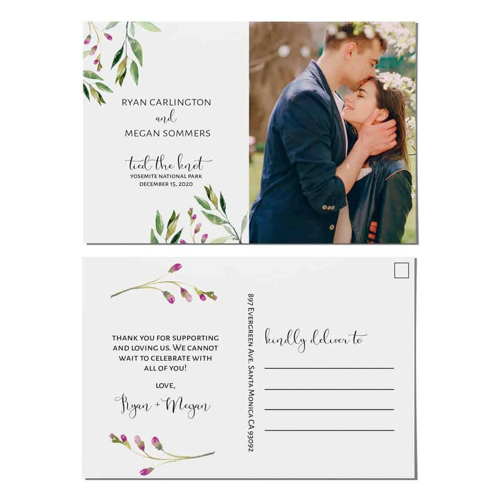 Tied the Knot Elopement Announcement Postcards, Wedding Announcement Postcards, Elopement Announcement Postcards elopement210