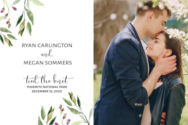 Tied the Knot Elopement Announcement Postcards, Wedding Announcement Postcards, Elopement Announcement Postcards