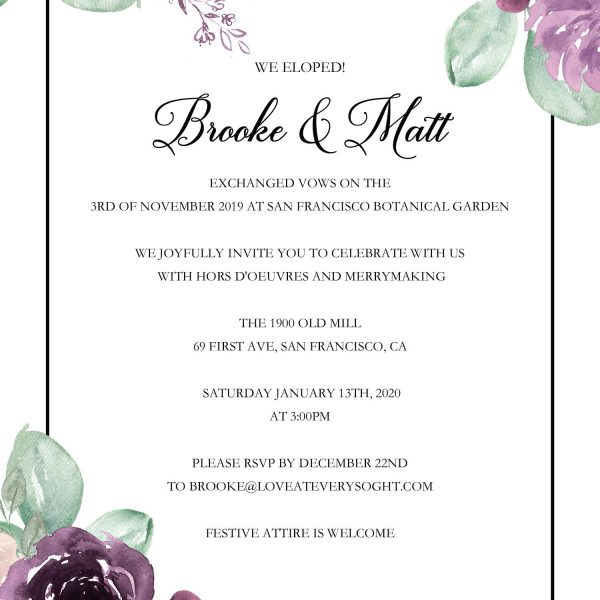"""Elopement Announcement Invitation """"We Eloped"""" by LoveAtEverySight, Post Wedding Celebration, Marriage Reception, Custom, Personalized"""