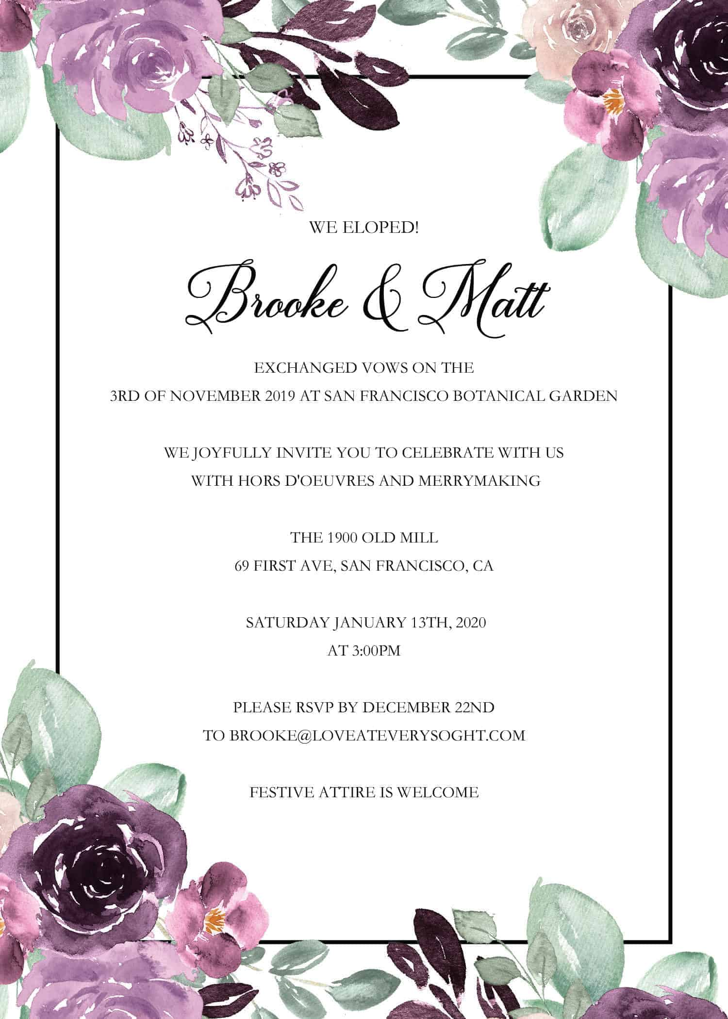 "Elopement Announcement Invitation ""We Eloped"" by LoveAtEverySight, Post Wedding Celebration, Marriage Reception, Custom, Personalized elopement221"