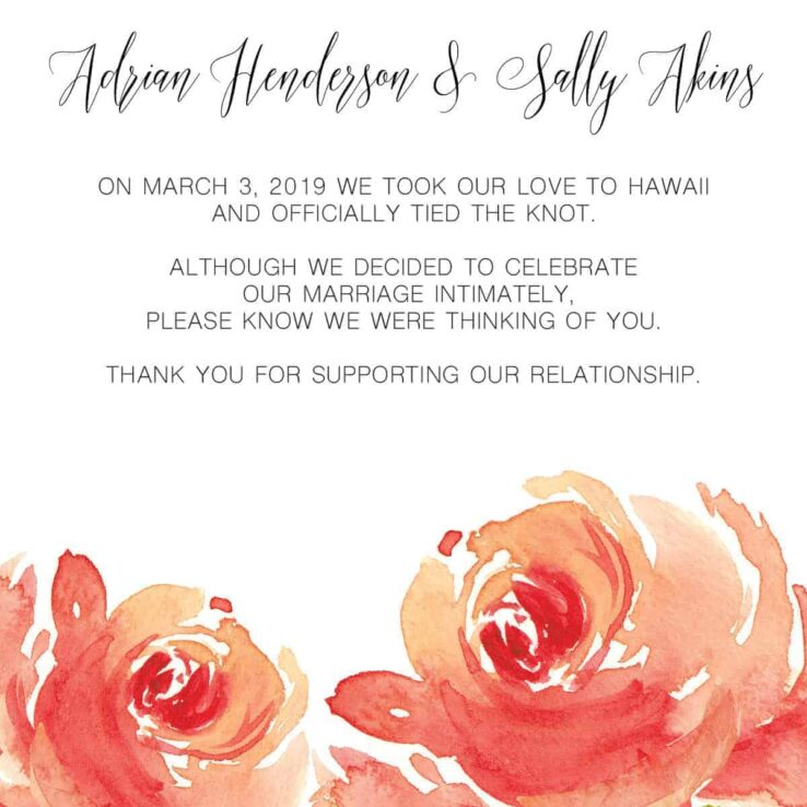 Floral Bloom, Elopement Announcement Cards, Tied the Knot Elopement Announcement