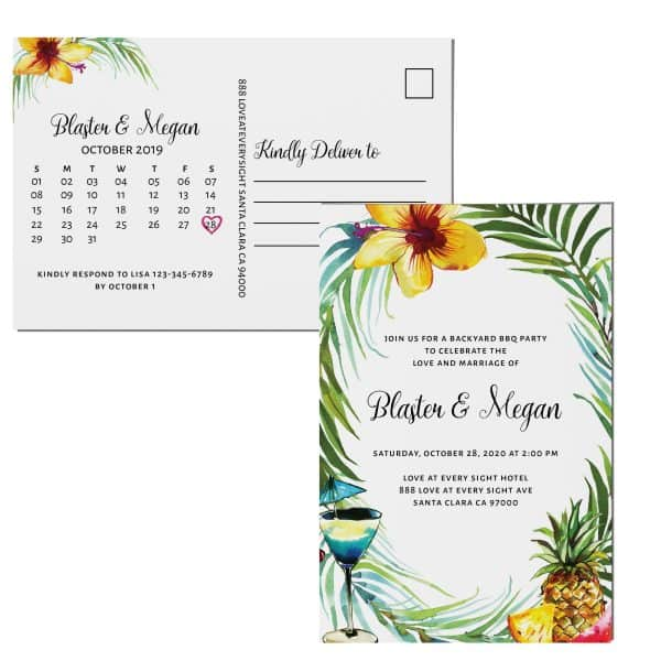 Summer Elopement Announcement Postcards, Wedding Celebration Postcards, Printed and Printable Elopement Announcement Postcards Tropical