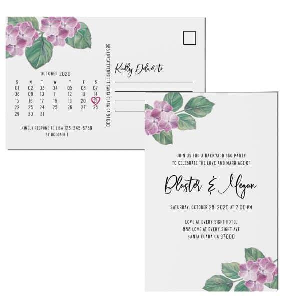 Elopement Announcement Postcards, Wedding Celebration Postcards, Printed and Printable Elopement Announcement Postcards, Gentle Design elopement277