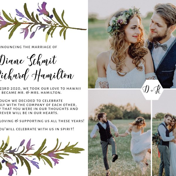 Flat Elopement Announcement Cards with Photos, Announcing the Marriage, Personalized Post-Wedding Notice, Marriage Announcement Cards 285