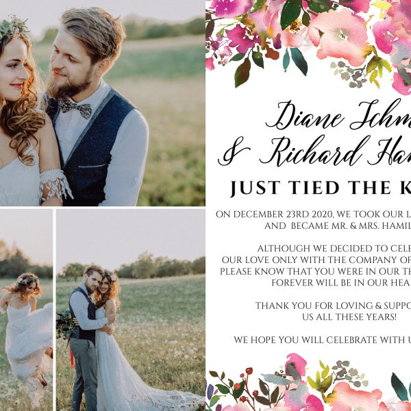 Flat Elopement Announcement Cards with Photos, Just Tied The Knot!, Personalized Post-Wedding Notice, Marriage Announcement Cards