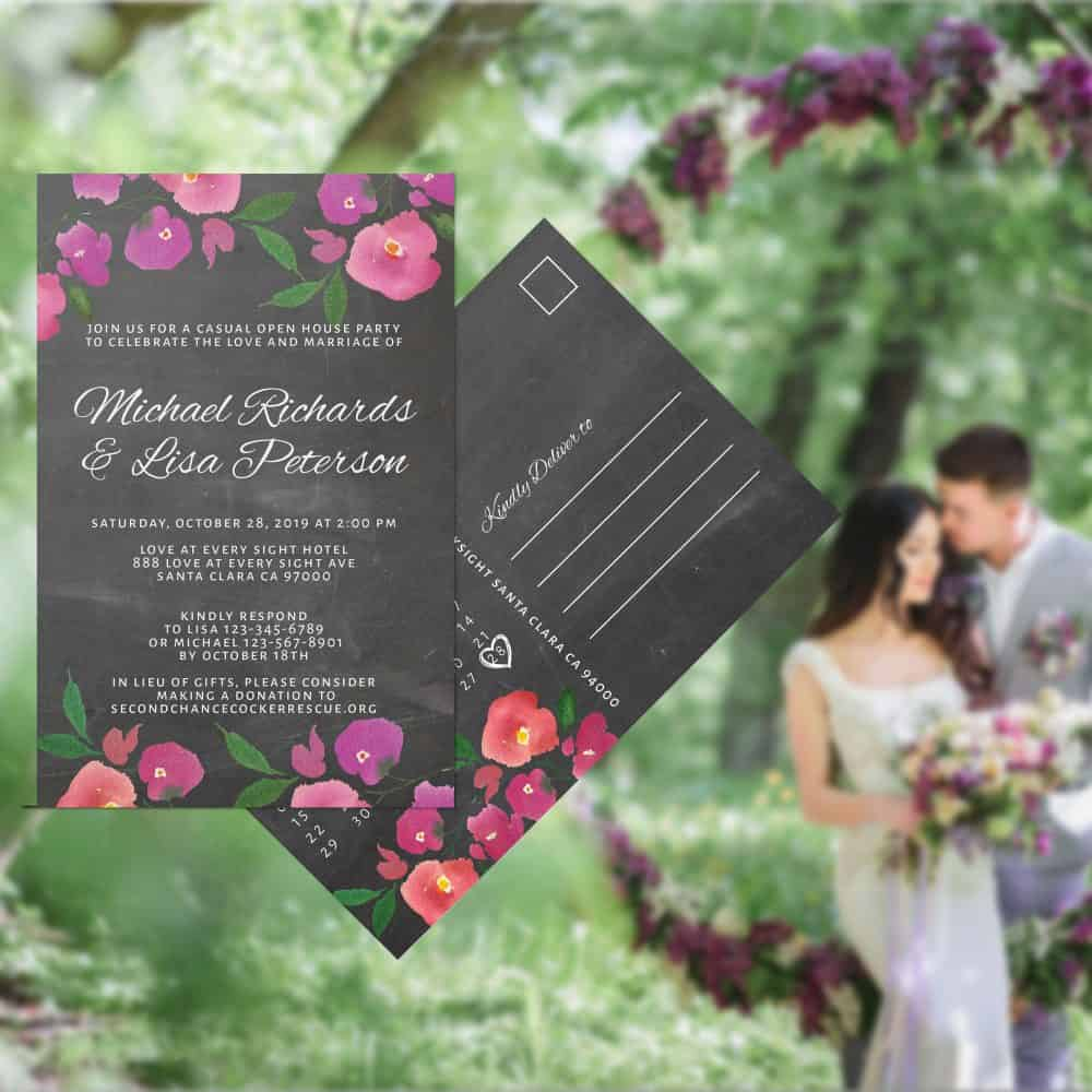 Chalkboard Wedding Reception Invitation Postcards, Reception Wedding Party Invitation Cards, Wedding Announcement Celebration elopement312