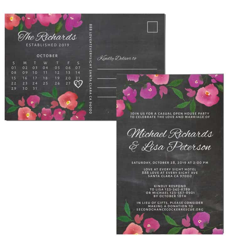 Chalkboard Wedding Reception Invitation Postcards, Reception Wedding Party Invitation Cards, Wedding Announcement Celebration
