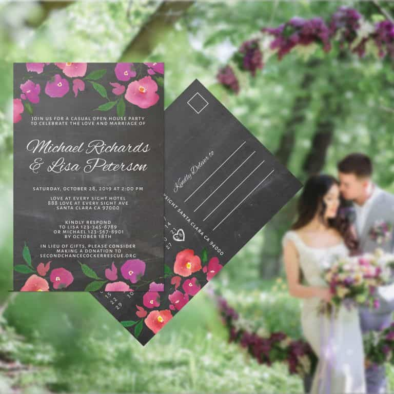 Chalkboard Wedding Reception Invitation Postcards, Reception Wedding Party Invitation Cards, Wedding Announcement Celebration elopement312