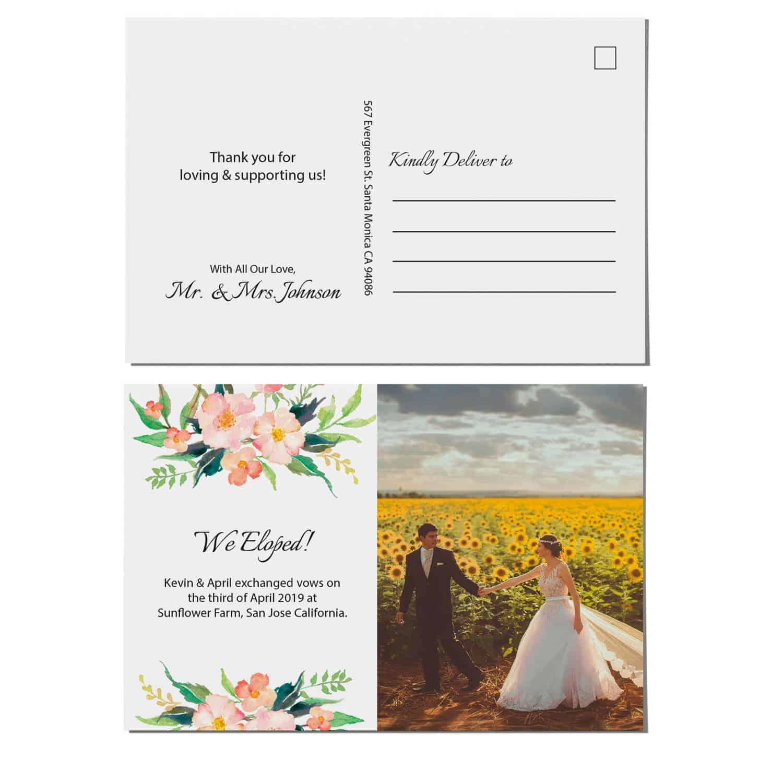 Elopement Announcement Postcards, Wedding Announcement Postcards, Printed and Printable Elopement Announcement Postcards