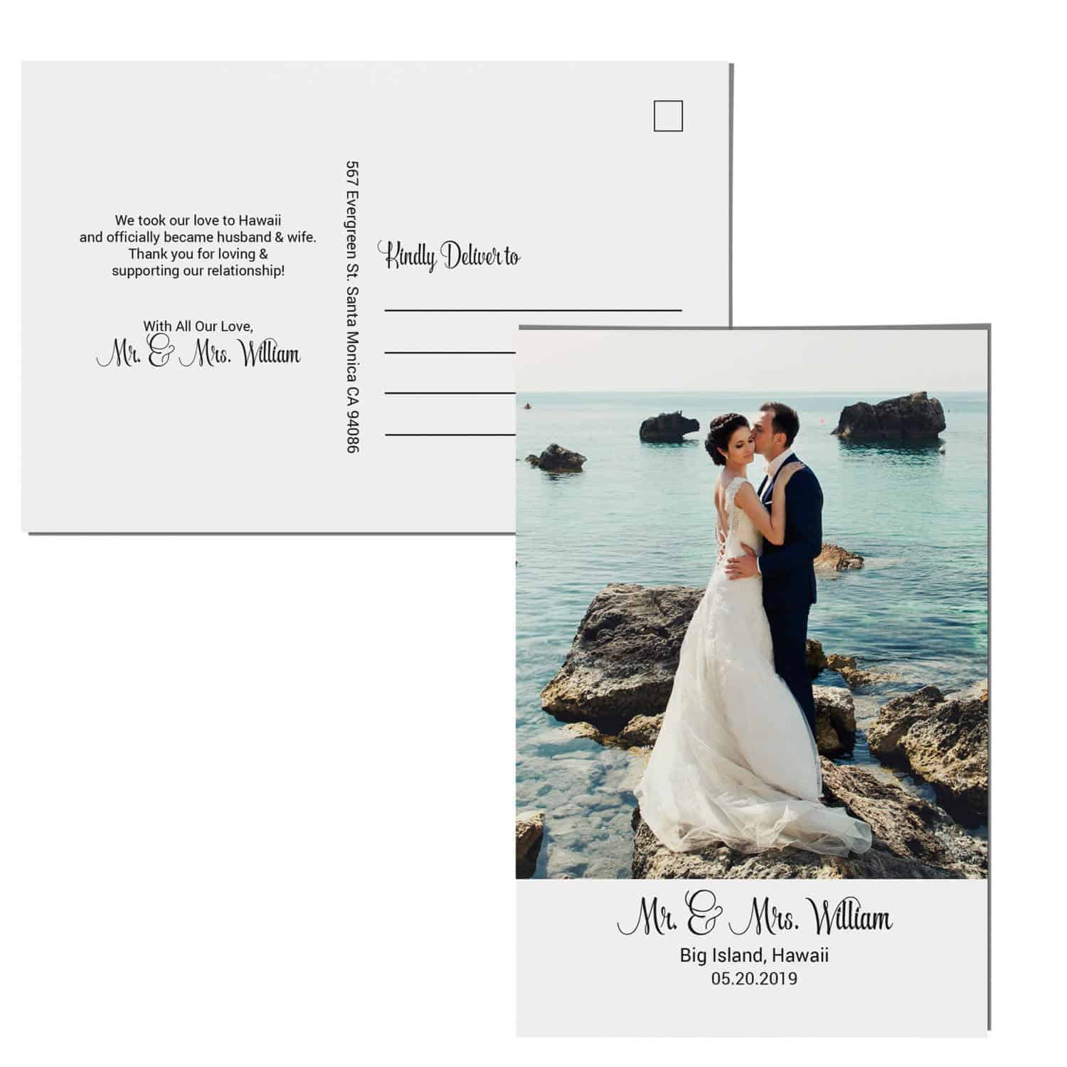 Mr &Mrs Elopement Announcement Postcards, We Eloped Postcards Add Your Own Photo