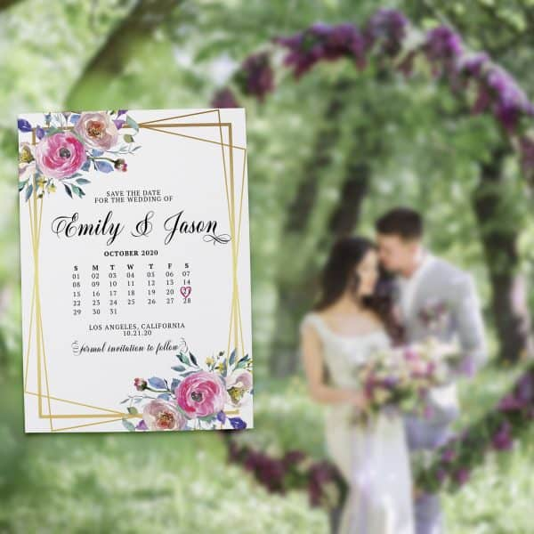 Customizable Save the Date Cards, Announcement Date Cards, Just Send us Your Details, Eye-catching Floral Design