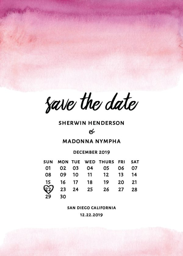 Watercolor Save The Date Wedding Card, With Calendar, Simple and Boho Wedding Card