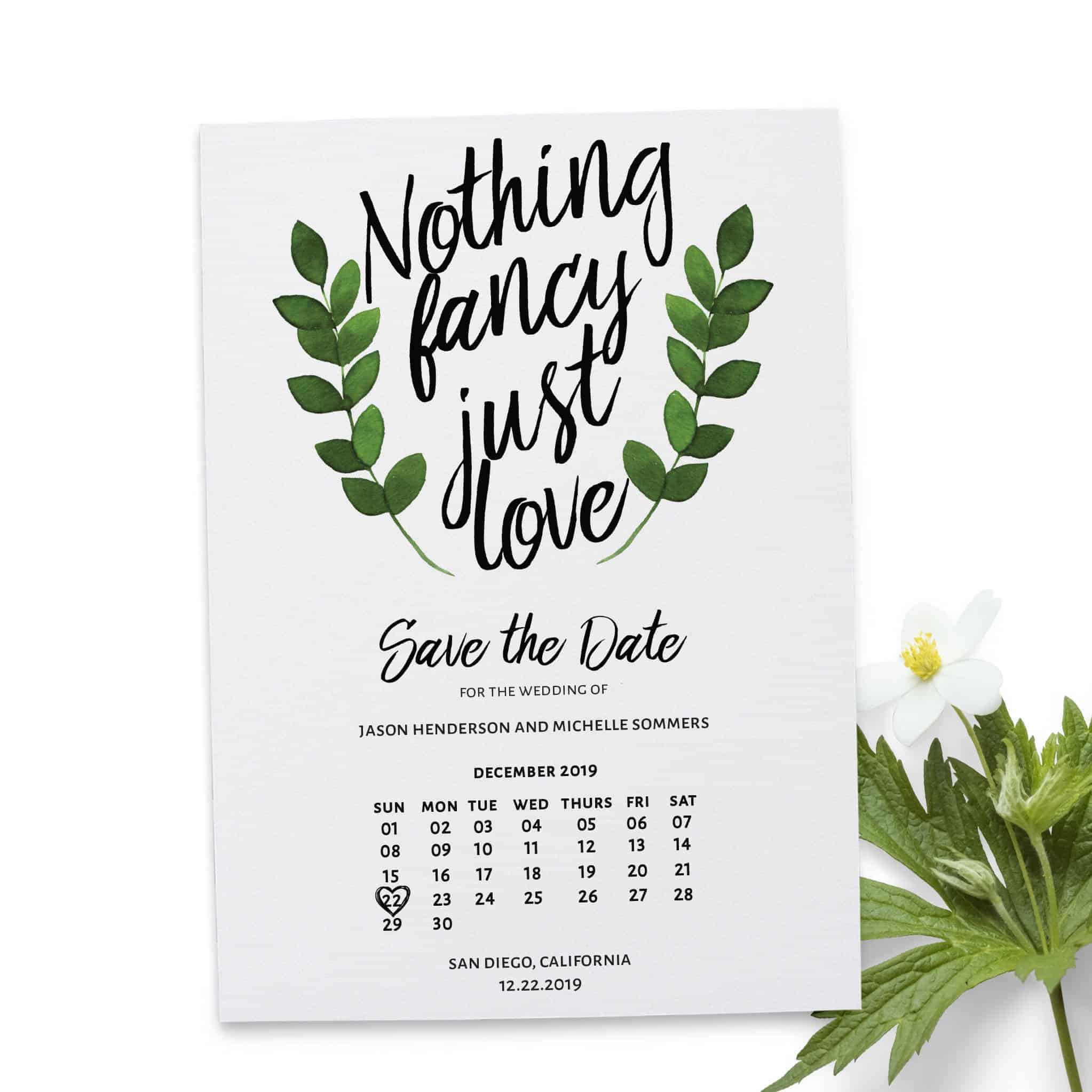 Nothing Fancy Just Love Save the Date Wedding Cards