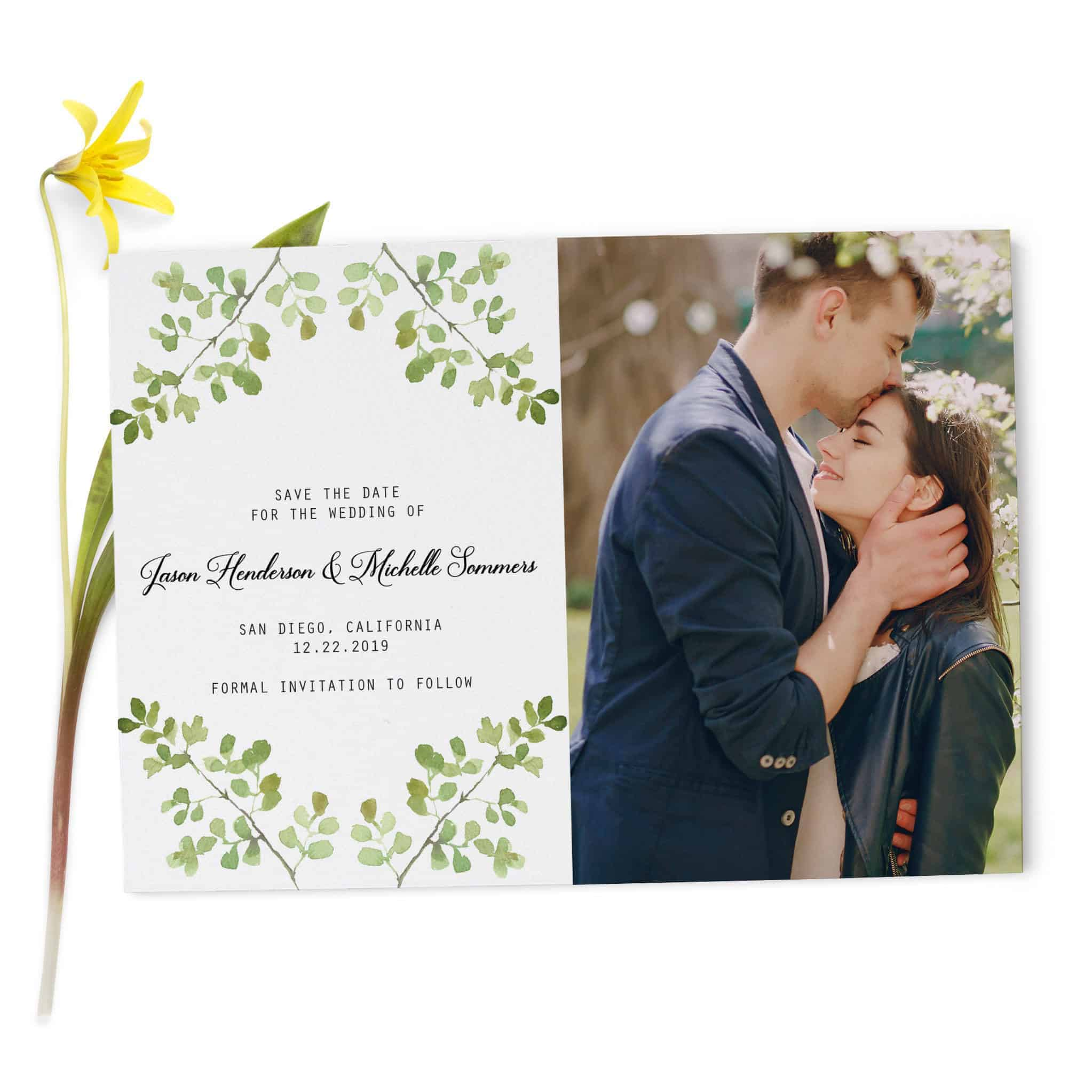 Green Wreath Save the Date Wedding Card, With Photo, Simple and Classic Wedding Card