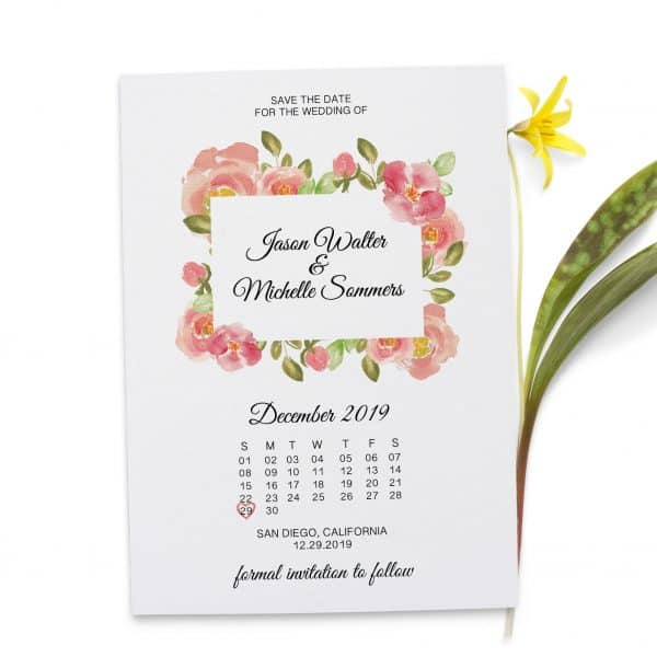 Pink Blossom, Plain Save the Date Cards, Simple Save the Date Cards for Wedding, Personalized, Custom Save the Date Cards
