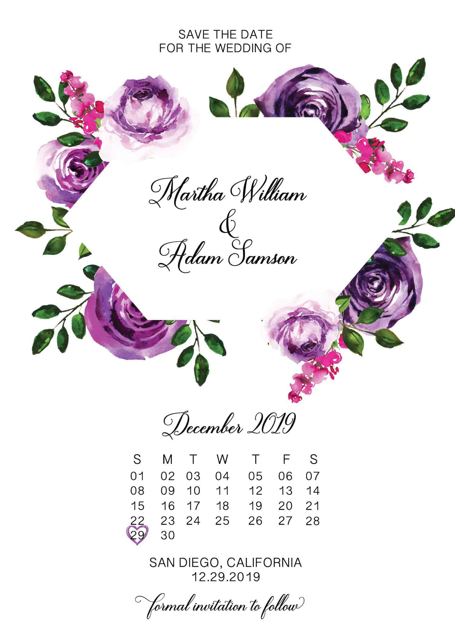 Purple Blossom, Geometric Save the Date Cards, Simple Save the Date Cards for Wedding, Personalized, Custom Save the Date Cards