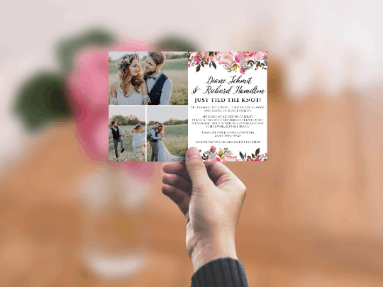 Flat Elopement Announcement Cards with Photos, Just Tied The Knot!, Personalized Post-Wedding Notice, Marriage Announcement Cards elopement286