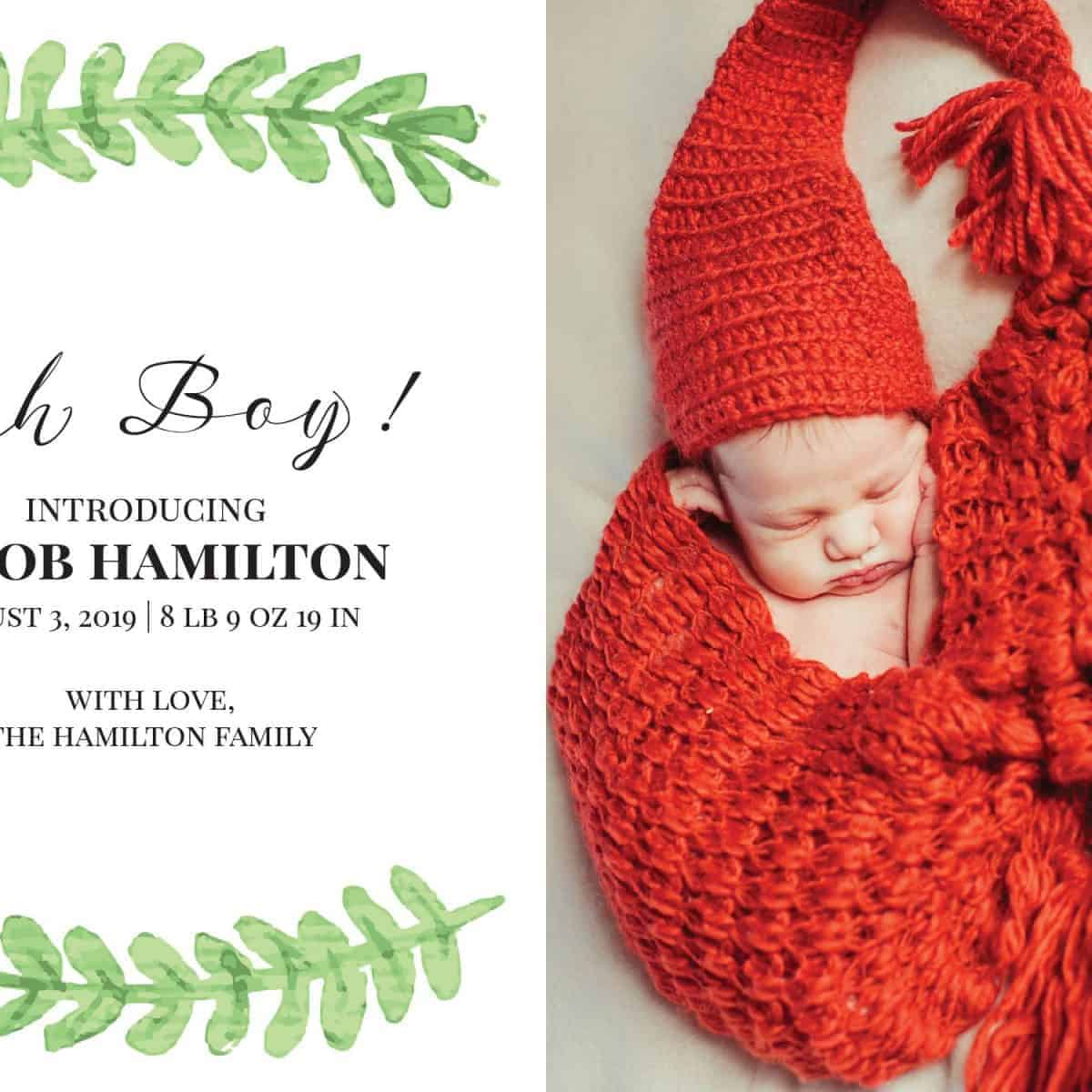 Oh Baby! Simple Baby Announcement Cards, Add Your Baby's Picture