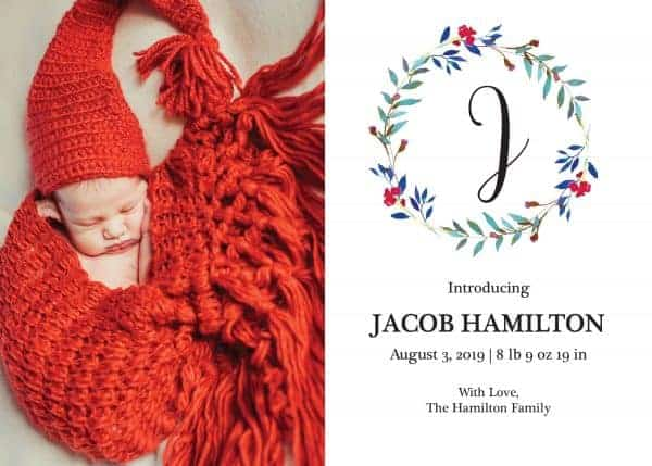 Simple Baby Announcement Cards, Add Your Baby's Picture