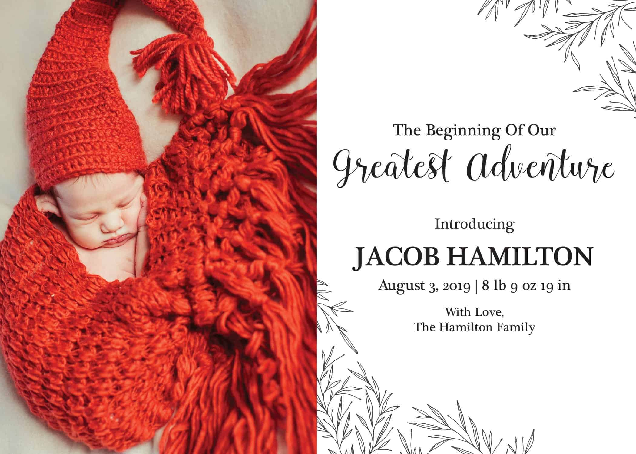 The Beginning of Our Greatest Adventure Baby Announcement Idea, Add Your Baby's Picture