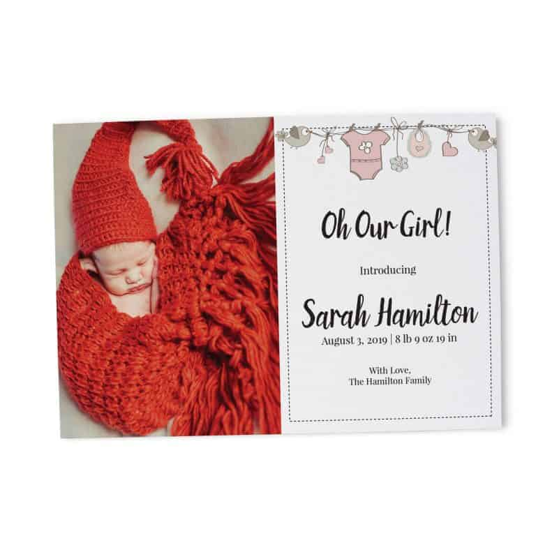 Oh Girl Baby Birth Announcement Cards, Add your Baby's Picture