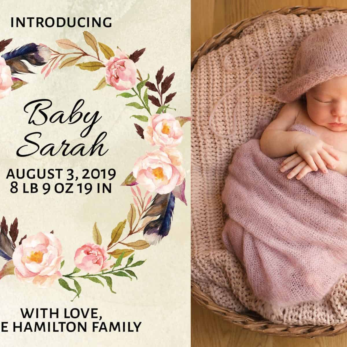 Unique Baby Announcement Card Idea, Add Your Baby's Picture