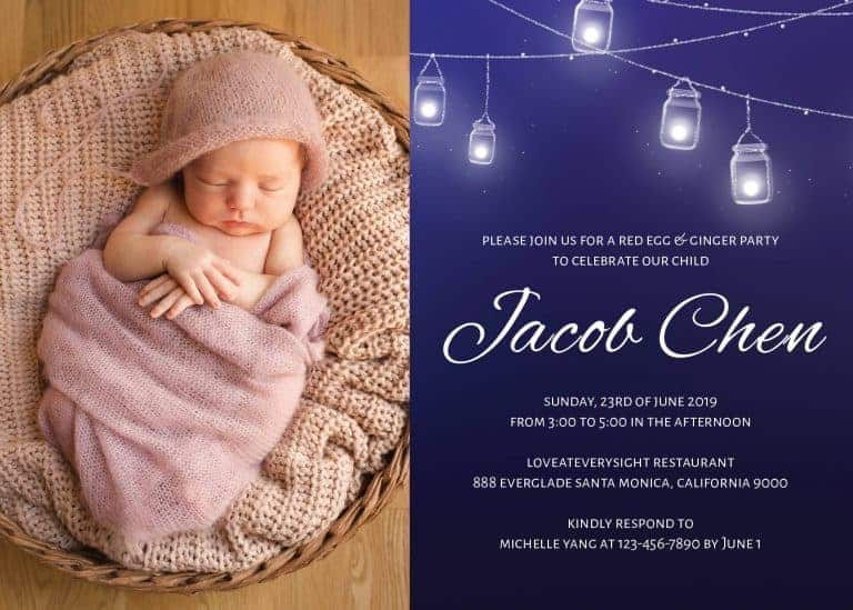 Red Egg and Ginger Party Invitation Cards With Hanging Mason Jars, Add Your Own Photo