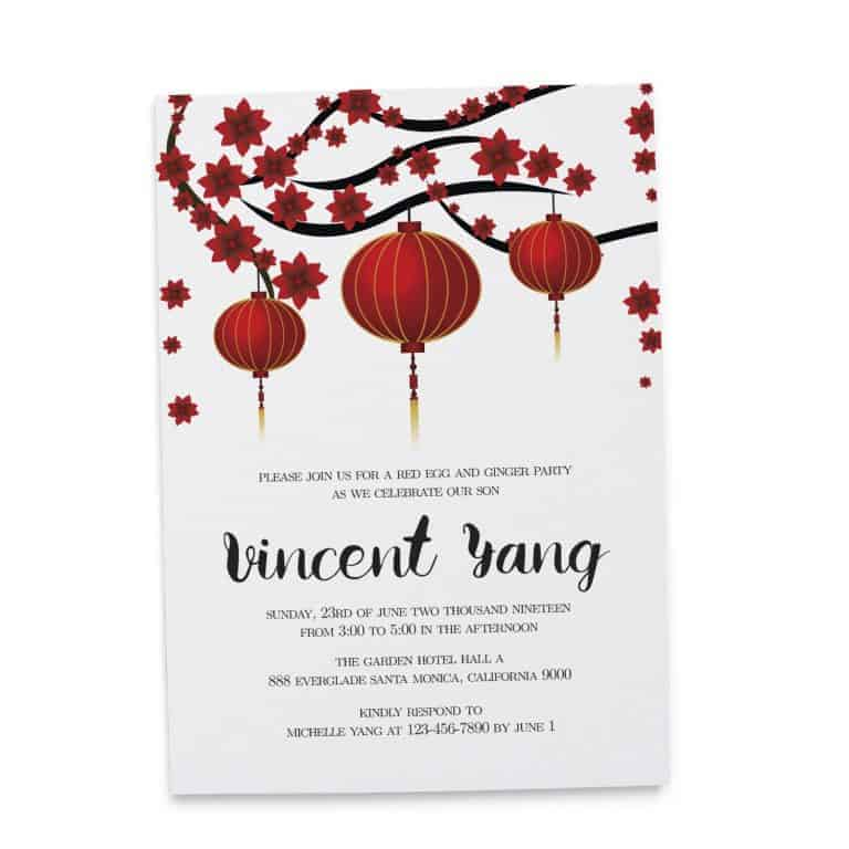 Red and Yellow Lanterns, Red Egg and Ginger Party Invitation Cards