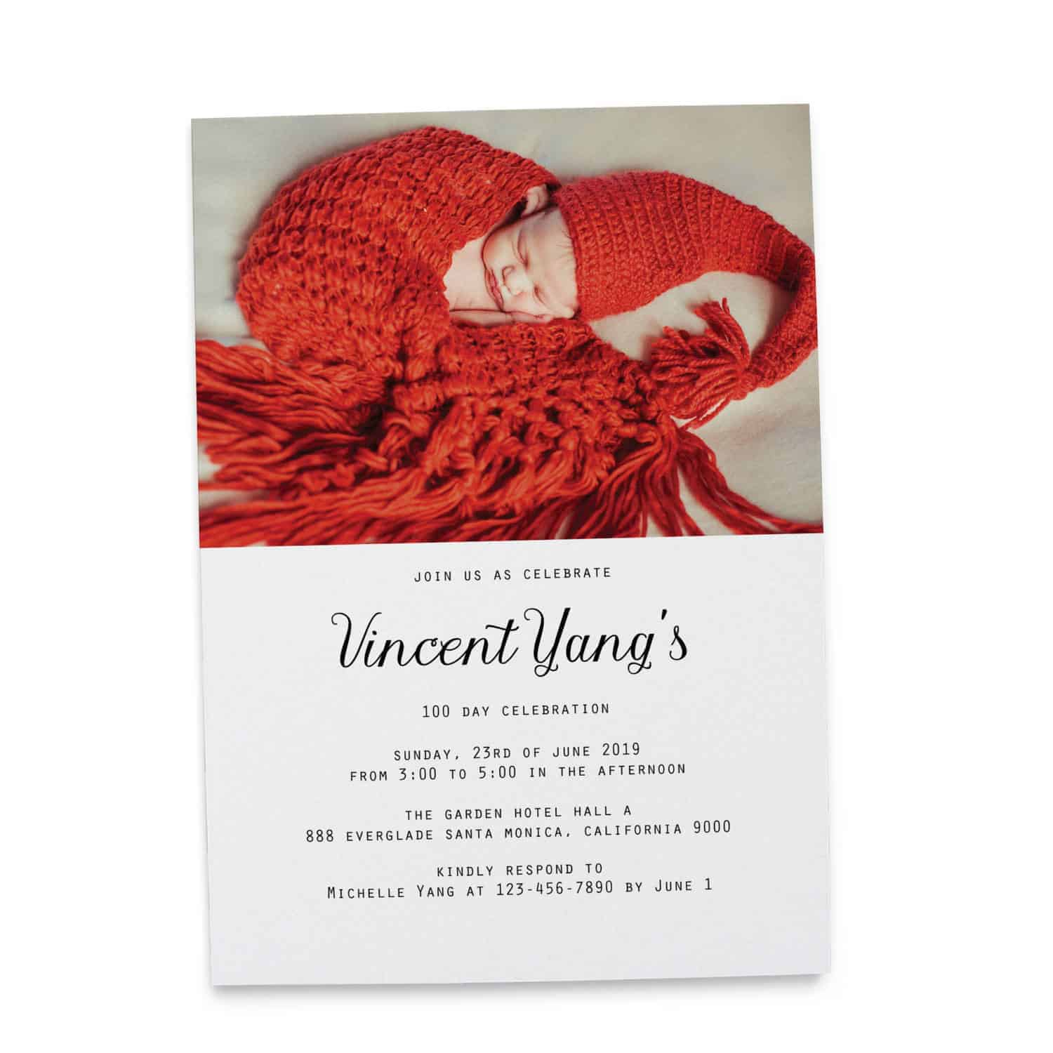 100 Day Party Cards, Red Egg and Ginger Invitation Cards, Add Your Own Photo