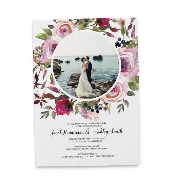 Elegant Wedding Reception Invitation Cards, Add Your Own Photo, Elopement Wedding Casual BBQ Party Cards