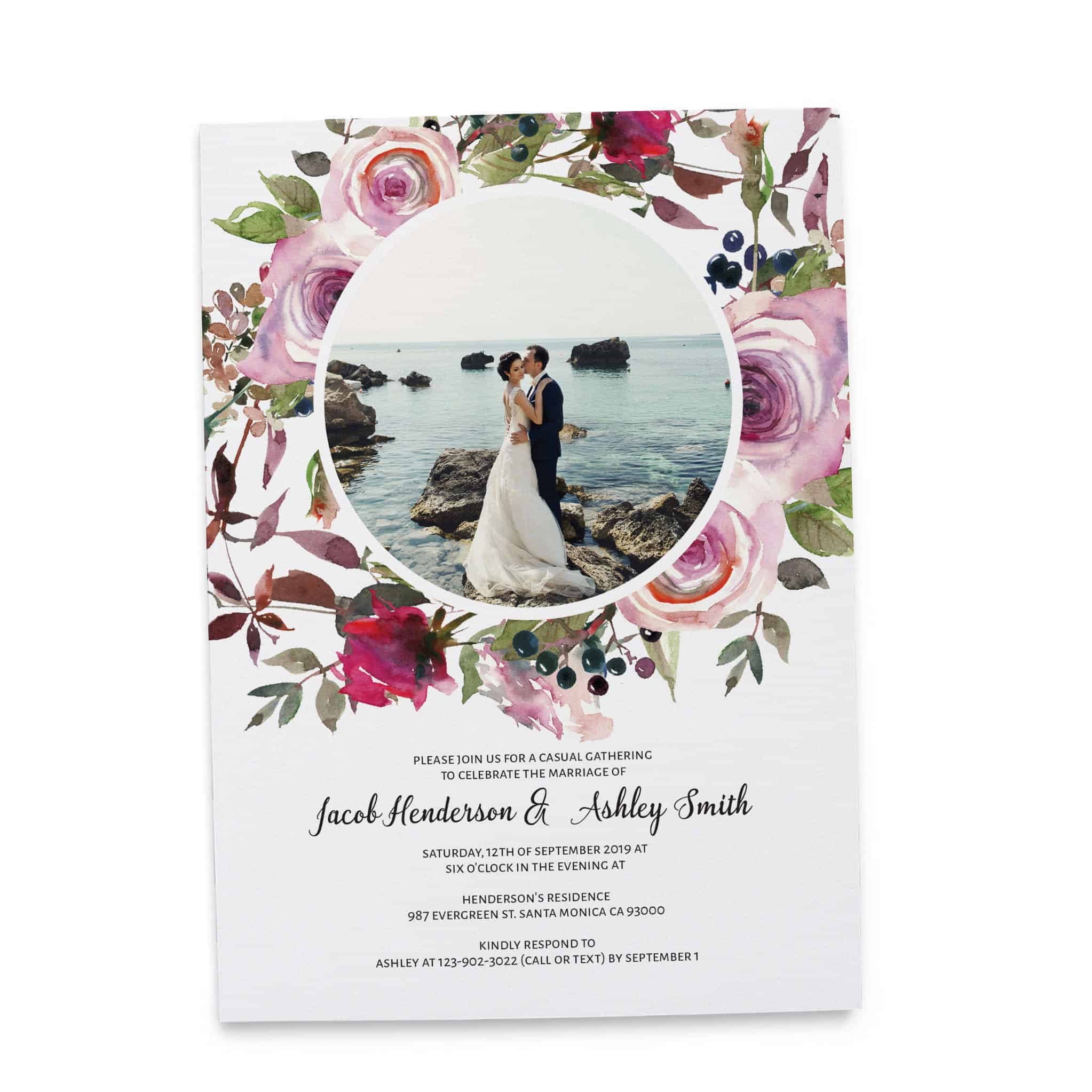 Elegant Wedding Reception Invitation Cards, Add Your Own Photo, Elopement Wedding Casual BBQ Party Cards elopement100