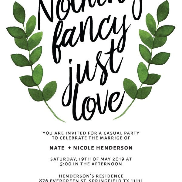 Nothing Fancy Just Love Casual BBQ Party Wedding Reception Invitation Cards