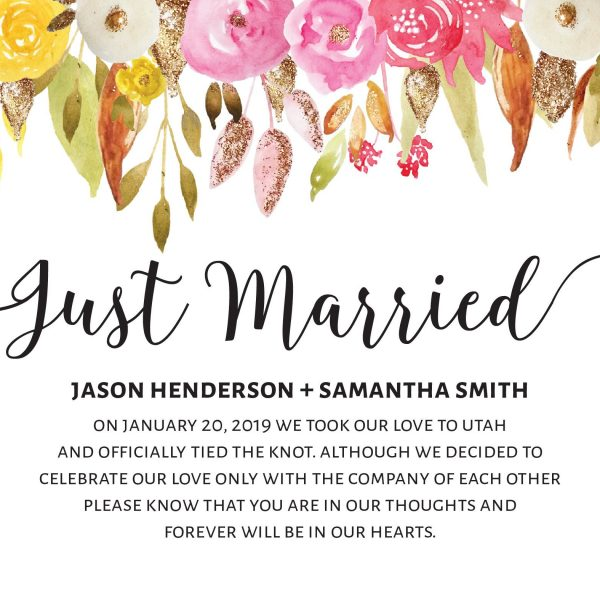 Just Married Eloped Cards Announcement Cards, Floral with Gold Glitter Announcements