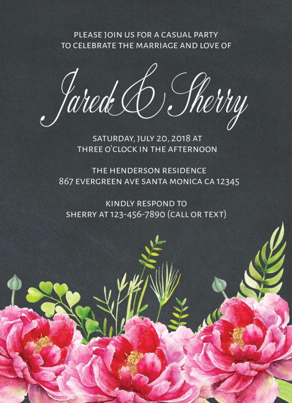 Chalkboard Wedding Reception Invitation Cards, Casual Party, BBQ Party for Elopement Wedding Reception Cards