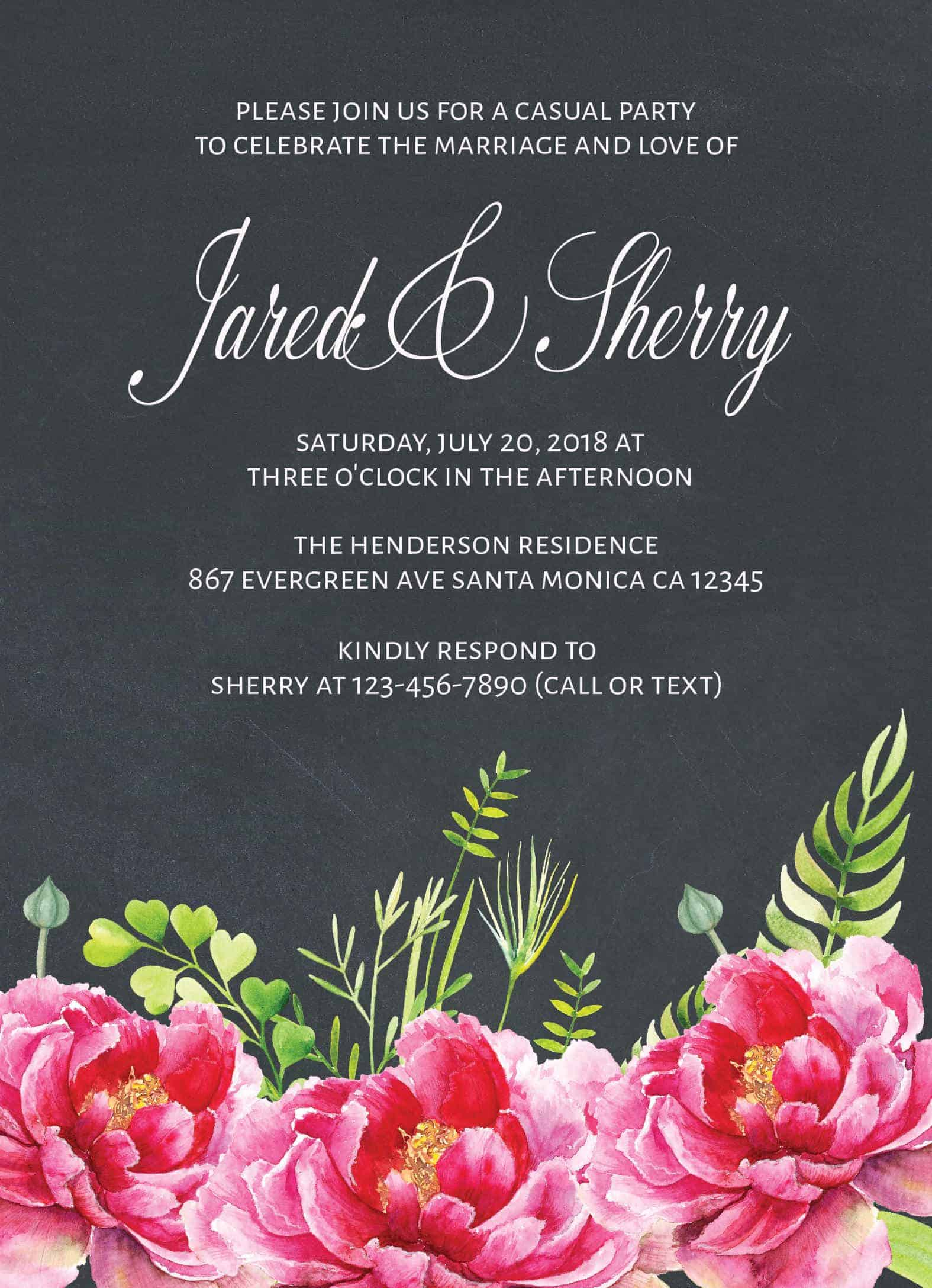 Chalkboard Wedding Reception Invitation Cards, Casual Party, BBQ Party for Elopement Wedding Reception Cards elopement106