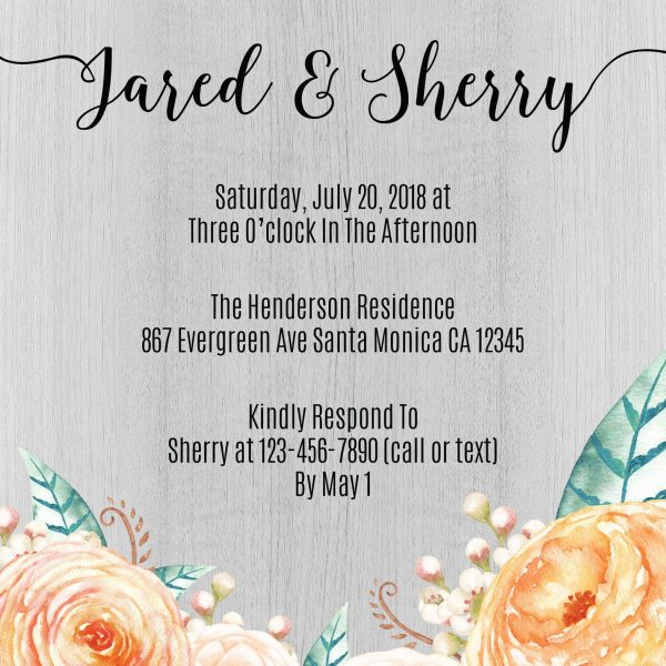 Rustic Peach and Green Wedding Reception Cards, Casual Party, BBQ Party for Elopement Wedding Reception Invitations