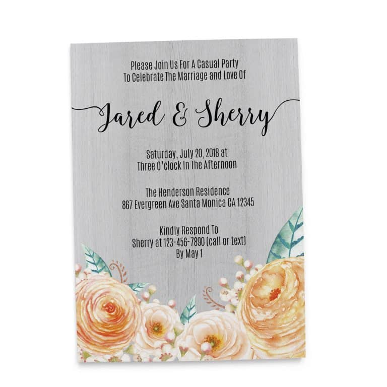 Rustic Peach and Green Wedding Reception Cards, Casual Party, BBQ Party for Elopement Wedding Reception Invitations elopement107