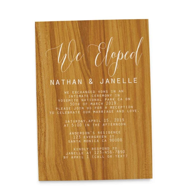 Rustic Wedding Reception Cards for Casual Party, Dinner and BBQ elopement110