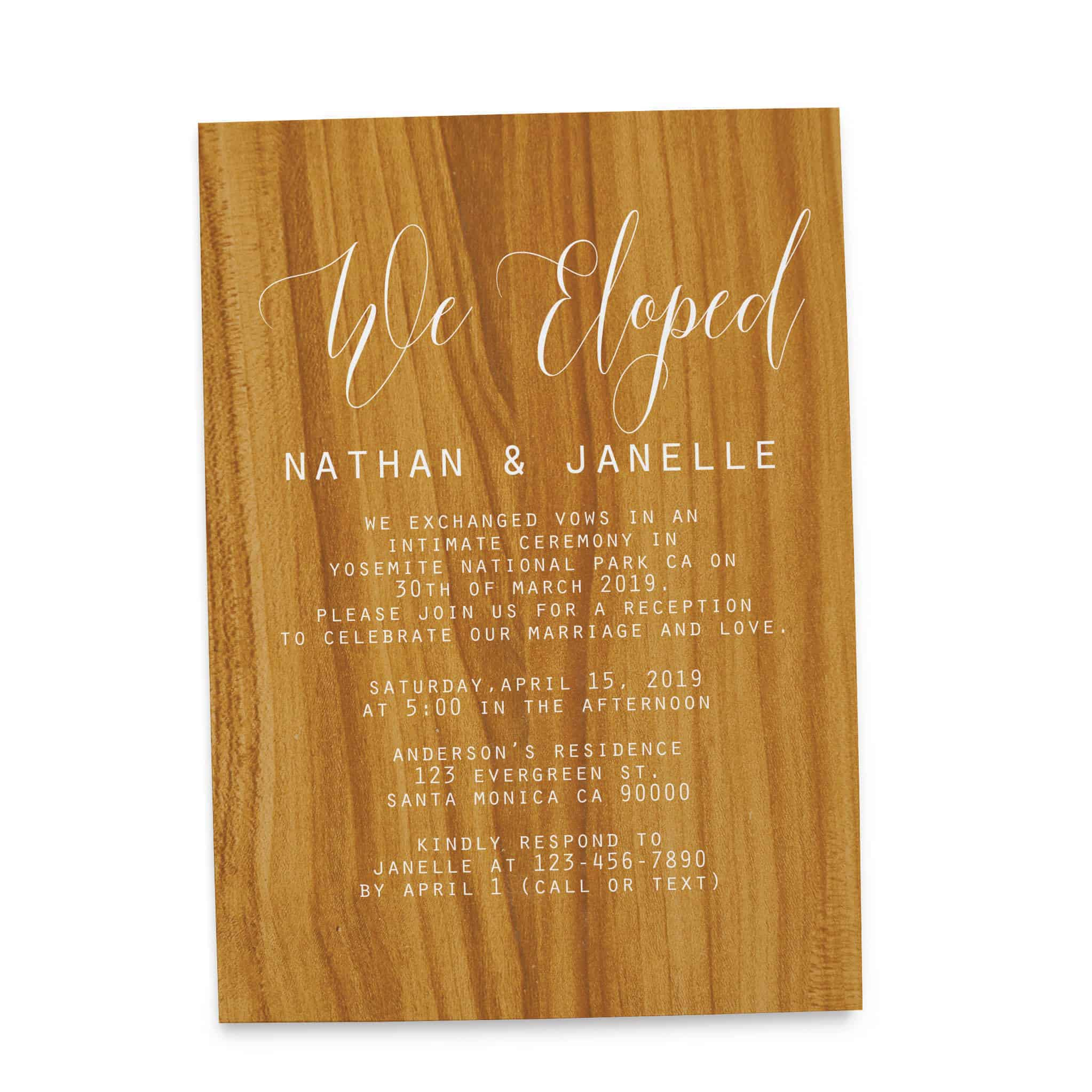 Rustic Wedding Reception Cards for Casual Party, Dinner and BBQ