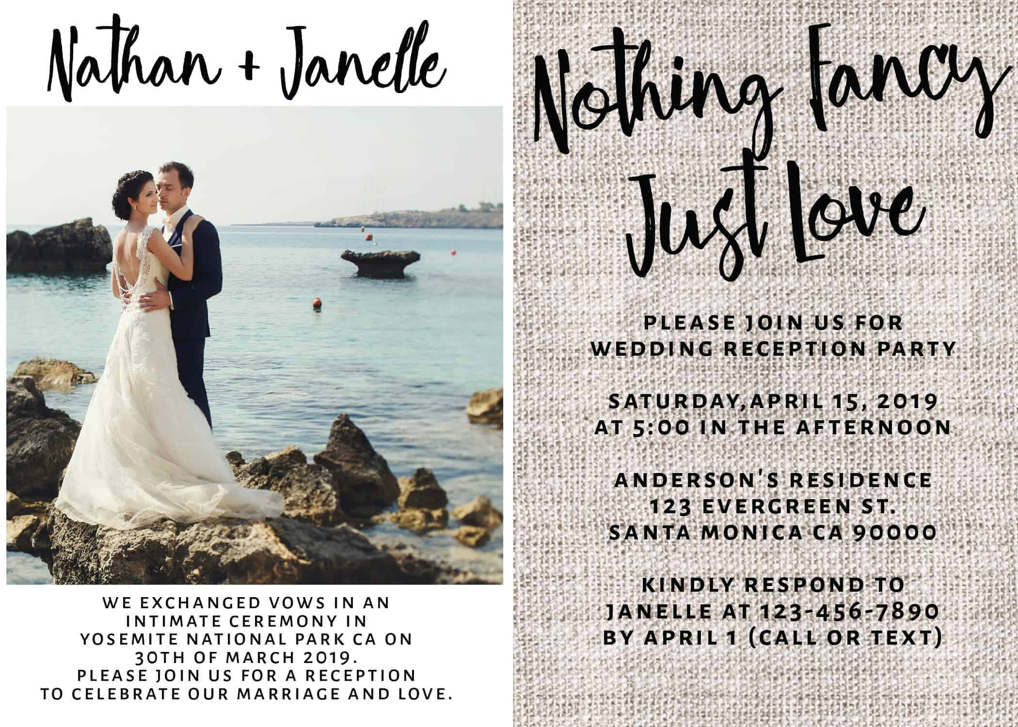 Rustic Burlap Wedding Reception Invitation Cards, Nothing Fancy Just Love, Casual Party BBQ Party Wedding Reception Cards, Add Your Own Photo