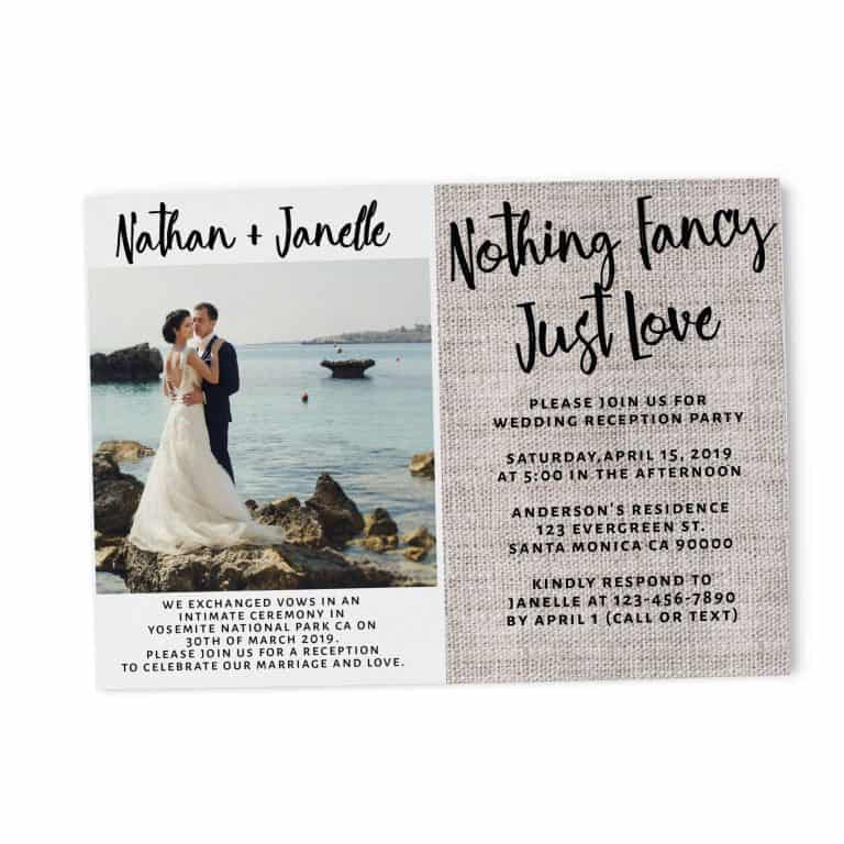 Rustic Burlap Wedding Reception Invitation Cards, Nothing Fancy Just Love, Casual Party BBQ Party Wedding Reception Cards, Add Your Own Photo elopement111