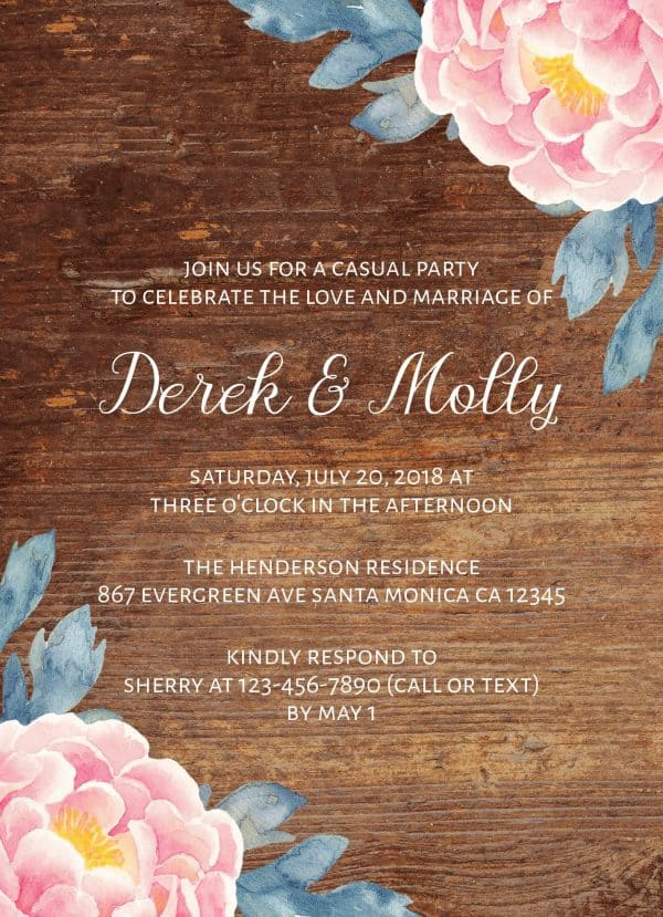 Rustic Wedding Reception Cards, Floral Wedding Reception Cards for Casual, BBQ Party and Celebrations
