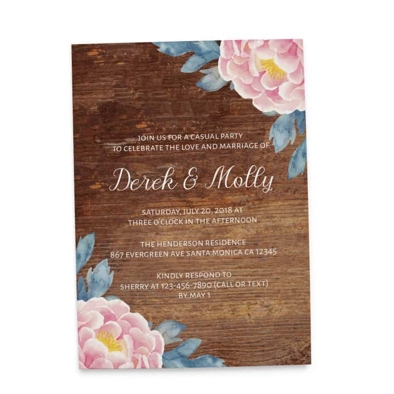 Rustic Wedding Reception Cards, Floral Wedding Reception Cards for Casual, BBQ Party and Celebrations elopement112