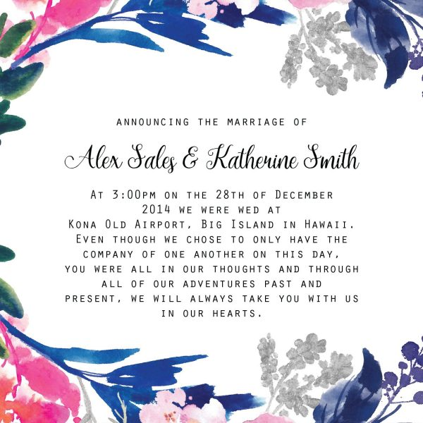 Floral Elopement Announcement Cards, Elopement Card
