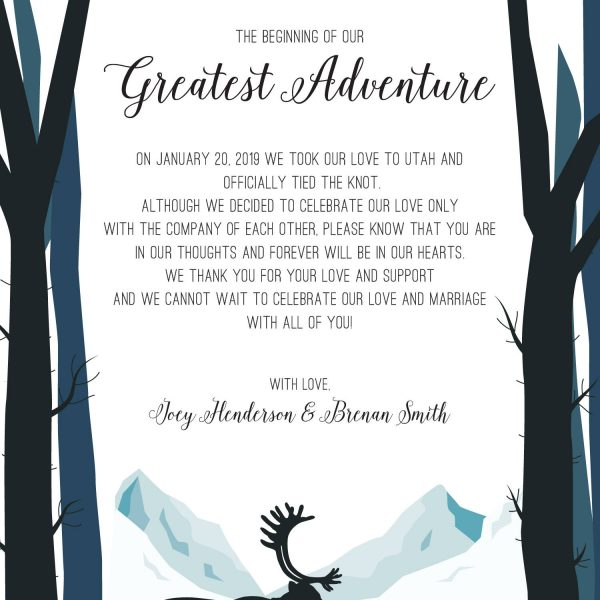 The Beginning of Our Greatest Adventure Elopement Announcement, Mountains Eloped Cards