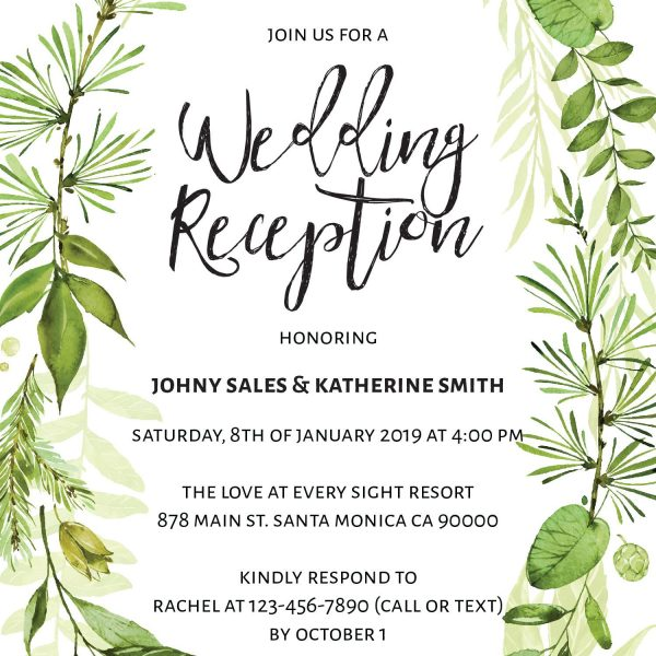 Elegant Elopement Reception Invitation Cards for Casual Party, BBQ Party Elopement Wedding Reception Invitation Cards