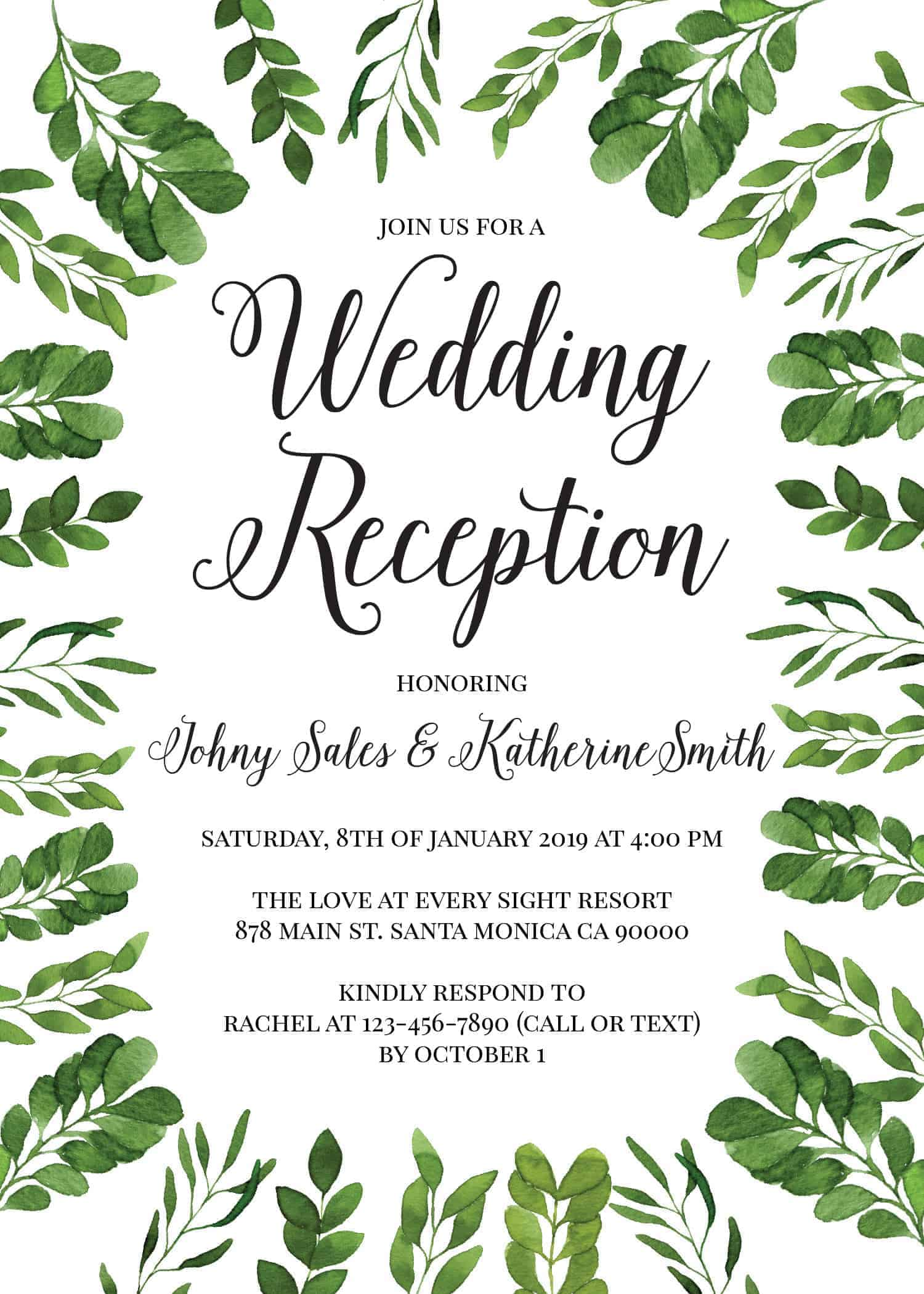 Modern, Simple Wedding Reception Invitation Cards for Casual Party, BBQ Party Cards elopement120